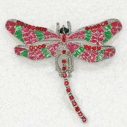 12pcs lot Wholesale Crystal Rhinestone Enameling Dragonfly Brooch Fashion Costume Pin Brooch C180