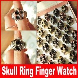 Wholesale Classic Antique Brass Skull Skeleton Metal Ring Finger watch creative Ring Watches Skull Head Cover Clamshell Finger Ring Watch Gift