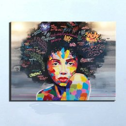Wholesale Pure Hand Painted Modern impressionist African Women Portrait Wall Decor Art Oil Painting On High Quality Canvas Multi sizes Ab032
