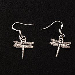 Airfoil Flying Dragonfly Earrings 925 Silver Fish Ear Hook 50pairs lot Tibetan Silver Dangle Chandelier E968 17x32.5mm