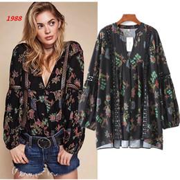 1988 women's folk style cotton flower hook embroidery Lantern Sleeve V Shirt Jacket Shirt Size