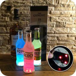 Wholesale LED Luminous Bottle Coasters Label Ultrathin High Brightness Colorful Flash Popular Waterproof Universal Cup Bottom Paste mj