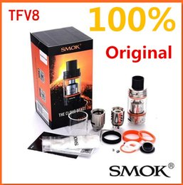 Wholesale 100 Authentic SMOK TFV8 Original Cloud Beast Tank ml with V8 T8 Octuple Coil V8 Q4 Quadruple Coils Head smoktech TFV8 Tank Best
