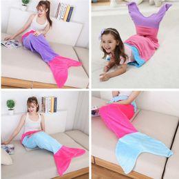 Kid Mermaid Tail Sofa Blanket Children Super Soft Warm Snuggle-in Sleeping Bag