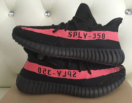 Wholesale Big size Onsale V2 Sply Core Black Red BY9612 LimitedReal Boost With Receipt Box Socks Kanye West Running Shoes