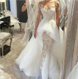 Elegant 2019 Appliqued Lace Mermaid Wedding Dresses Off Shoulder Illusion Beaded Overskirts Bridal Gowns Plus Size African Vestidos De Novia