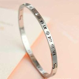 High Quality New Roman Number Bangle Titanium Gold Color Cuff Bracelets Bangles Wedding Women Men Bangle
