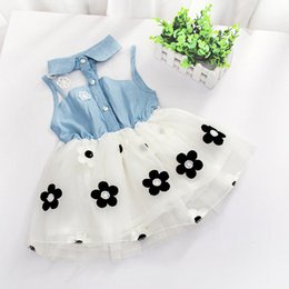 2017 style denim enfant Vente en gros- New Cute Princess Baby Girl's Kids Denim sans manches en fleur en coton imprimé Top Tulle Tutu Mini-robe budget style denim enfant