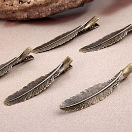 2016 Wholesale 20pcs Hollow Feather Antique Bronze Metal Alligator Hair Clips,Fashion Hair Clips & Bobby Pins
