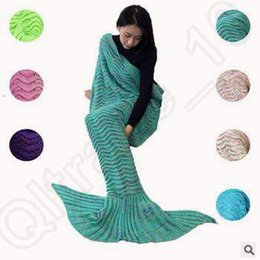 Wholesale 7 Colors cm Adult Mermaid Tail Blankets Mermaid Crochet Blanket Mermaid Sleeping Bags Mattress Fish Knitted Blanket CCA5433