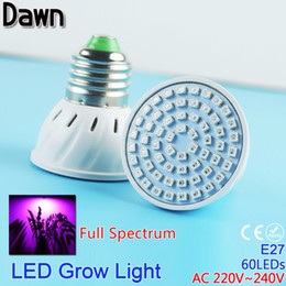 Led grow bleu ampoule à vendre-Grossiste-60LED plein spectre Grow Light AC 220V 5W E27 LED Grow lampe ampoule LED pour Flower Plant Hydroponique UV IR Rouge Bleu
