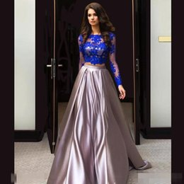 Wholesale Robe De Soiree Two Pieces Evening Dresses Long Sleeve Royal Blue Sliver Lace Celebrity Gowns Vintage Saudi Arabian Prom Party Dress