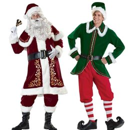2017 red and green Santa suit of adult male high - grade clothing high-end Christmas clothes