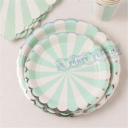 Wholesale Sets Mint Siver Foil Beverage Party Tableware Paper Cups Straws Dinner Plates Dishes Napkins Cocktail Wedding Supplies