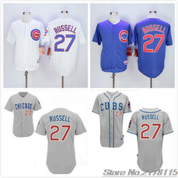 2016 Majestic 27 Addison Russell Jersey White Home Blue Alternate Gray Road Stitched Addison Russell Cubs Baseball Jerseys free shipping
