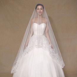 2017 Real Photos Ivory Wedding Veil 3m Long Lace Sequins Appliques Edge Mantilla Bridal Veil Wedding Accessories Veu De Noiva