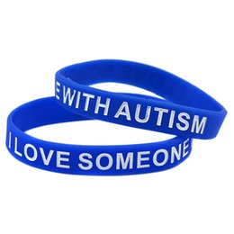 Wholesale 100PCS Lot I Love Someone with Austism Silicone Wristband Great For Daily Reminder By Wearing This Bracelet
