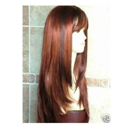 New Fashion Long Copper Red Brown Wig Hair free shipping