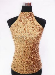 Sexy Club Stage Sequins Halter Neck Vest Women's Shimmer Flashy Sparkle Sleeveless Short Tank Tops