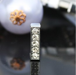 Wholesale - 50pcs lot 10mm I Full Rhinestones Bling Slide Letters Fit For 10mm DIY Pet Collar Leather Wristband 0030