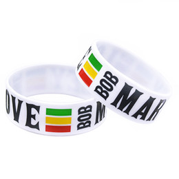 Wholesale 50PCS Lot 1 Inch Wide Bracelet BOB MARLEY One Love Silicone Wristband For Music Fans