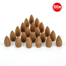 50 Pieces Home Fragrance Natural Sandalwood Backflow Tower Incense Cones for Air Fresh, Help Sleeping, Praying & Health Care