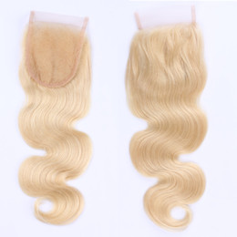 "4*4 #613 Blench Blonde Human Hair Extensions 100% Brazilian Lace Closure Hair Pieces Human Hair Top Lace Closure Silky Body Wave 8""-20"""
