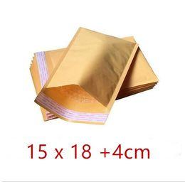 Burbuja de papel kraft en Línea-15 x18CM + 40m m Kraft Paper Mail Envoltura Bolso PE burbuja rellenado Sobres Bolsas de embalaje Suministros de envío de calidad superior Entrega gratuita