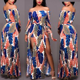 Slash Neck Split Long Dress Off The Shoulder Long Sleeve Dresses Sundress Cocktail Beach Flora Printed Dresses Bohemian Maxi Dresses
