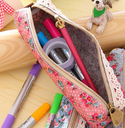 Wholesale Coin Purses Rose Classic Pencil Pen Case Floral Cosmetic Makeup Bag Storage Pouch Purse Holder Cover party favor Student back to school gift