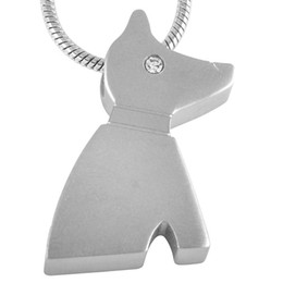 IJD8185 The Dog Cremation Urn Necklace for Pet Lovers,Classic Design Stainless Steel Memorial Urn Ashes Jewelry Cremation Pendant Necklace