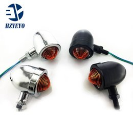 Wholesale 2 x Motorcycle Chrome Bullet Turn Signals indicator Light For Cruiser Chopper Cafe Racer HZYEYO P