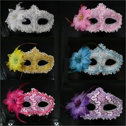 Party Masks Mask Women Sexy Hallowmas Venetian Masquerade Masks With Rose Flower Feather Dance Party Mask Wholesale Free Shipping - 0071HW