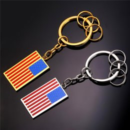U7 Hot American Flag Key Rings 18K Gold Plated Women Men Stainless Steel USA Symbol Car Keychains With Box Perfect Accessories