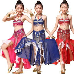 New Style Belly Dance Costume 3pcs Bra&Belt&Skirt Dancing Kids Dance Clothes Child Indian Set Children Bellydance Wear