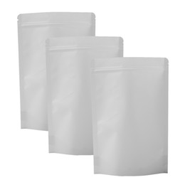 Promotion sacs kraft blancs Haute qualité 18x26cm (7x10.25in) 100pcs Tear Notch Heat Sealing Stand Up Pouches Blanc Kraft Paper Zip Lock Package Storage Bag