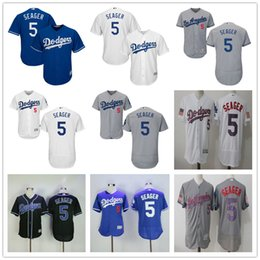 Los Angeles Dodgers #5 Corey Seager LA Baseball Jerseys Black Grey White Blue Gray 2017 Stars & Stripes Free Shipping Top Quality on Sale