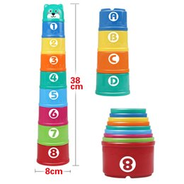 Wholesale Excellent Baby Children Kids Educational Toy New building block Figures Letters Folding Cup Pagoda Gift set