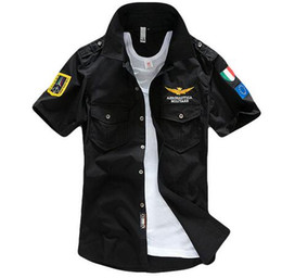 Wholesale Aeronautica Militare Air Force One t shirt Men Brand Shirts Men Military Plane Pilot Shirt Chest Logo Embroidery Casual Shirt