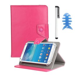 Wholesale-Del Nouveau Universelle PU Housse Housse en cuir pour Alcatel OneTouch POP 7 Tablet + Pen + Reel Feb26 à partir de stands de bobine fabricateur
