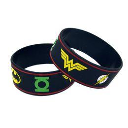 50PCS Lot Justice League Of America Silicone Bracelet With: Batman Superman Green Lantern The Flash Wonder Woman Aquaman