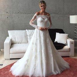 Wholesale Vestido De Noiva Lace Long Sleeve Wedding Dress Boat Neck A Line Vintage Wedding Dress Lace Vestido De Ca