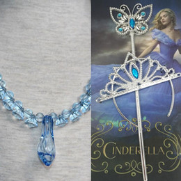 Wholesale PrettyBaby girls cinderella accessories crown magic wand necklace baby girls xmas sets rhinestones crown butterfly wand high heels necklace