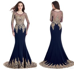 2017 Hot Sale Cheap In Stock Mermaid Prom Dresses Scoop Sheer Neck Lace Gold Appliques Robe de Soiree Evening Party Gown
