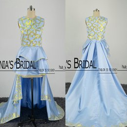 2017 Real Images Hi Lo Prom Dresses Gold and Light Blue Ruffle Skirt with Court Train Evening Gowns