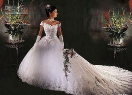 A-Line Wedding Dresses NEW Strapless Flower Ruffle Dropped Waist Fluffy Court Cheap Sexy Beach Wedding Dresses Bridal Gown Bridal Gowns