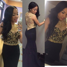 Sexy Gold Crystal Beading Evening Dresses 2017 Black Mermaid Sleeveless Prom Gowns Formal Dresses Evening Wear
