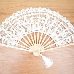 White Lace Folding Fan Handmade hand fans Cotton Lace Embroidered with Bamboo Frame Women Hand Held Fans for Cosplay Wedding Props