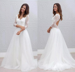 Bohemian Elegant Lace Long Sleeves Wedding Dresses Sexy V-neck Boho Beach A Line Bridal Dress Backless Tulle Wedding Gowns Vestidos de novia