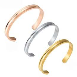 Wholesale DHL ship New Hair Tie Bracelets Open Bangles Bland Cuff Stainless Steel Brushed Edges for Women Girls Bracelet Bangle Amazon Hot Sale